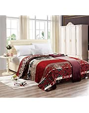 Moon Soft Flannel Floral Blanket- Size 200x220 cm - YHT-007