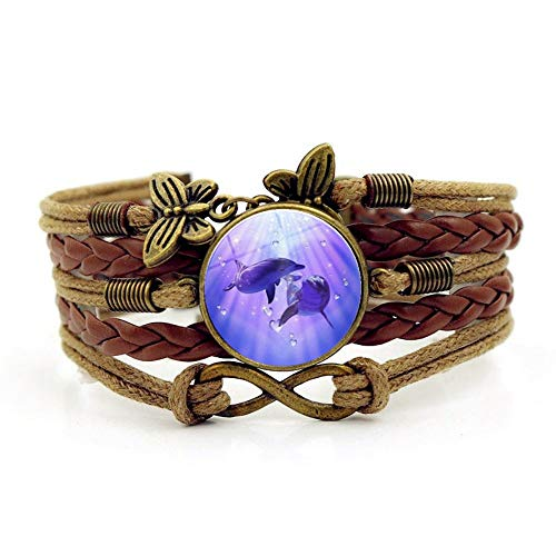 YUANOMSL Woven Bracelet,Brown Rope Pink Cute Little Dolphin Animal,Time Gemstone Bracelet Multi-Layer Hand-Woven Glass Combination Jewelry Ladies Fashion European and American Style Jewelry