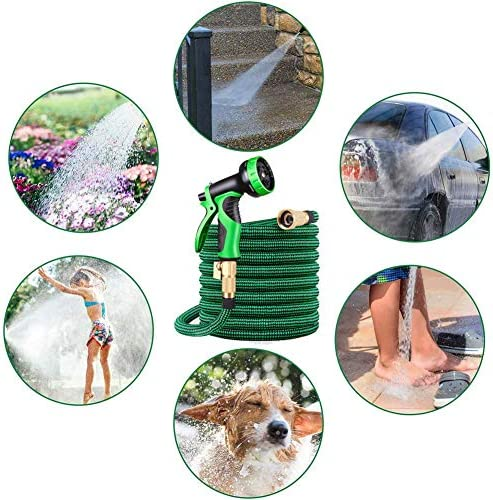 TANCEQI Garden Hose, 100Ft Lightweight Flexible 3 Times Expandable Water Hose with 9 Function Sprayer Nozzle for Outdoor Lawn Car Washing, Green