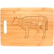 Beef Butcher Cuts Cow Kitchen Décor Barbecue BBQ Burgers Big Rectangle Bamboo Cutting Board Bamboo by Gifts For Value