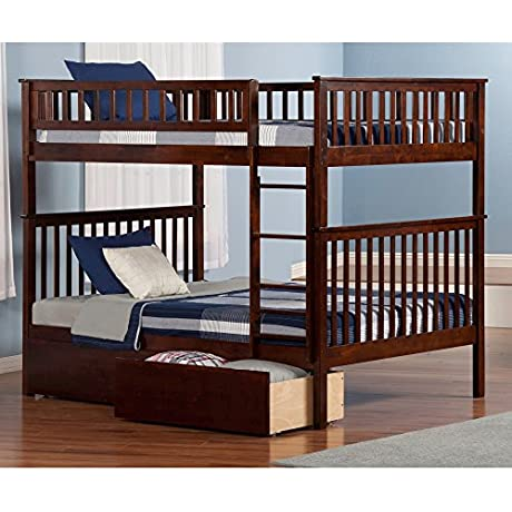 Atlantic Furniture Woodland Bunk Bed Full Over Full With Urban Bed Drawers In Walnut