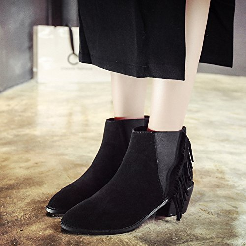 120W nubuck coarse Autumn with BLACK pointed boots boots leather tassel high NSXZ heel pTU7w