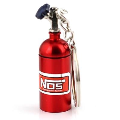maycom Creative New NOS Mini Nitrous Oxide Bottle Keyring Key Chain Ring Keyfob Stash Pill Box Storage Turbo Keychain (Red): Automotive