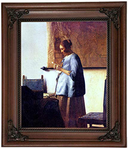 Historic Art Gallery Women in Blue Reading a Letter by Johannes Vermeer Framed Canvas Print, Size 8x10, Brown (Woman In Blue Reading A Letter Vermeer)
