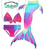 Camlinbo 3PCS Girls' Swimsuit Mermaid Tail for Swimming Tropical Bikini Masquerade Pool Party (Child Large/7-8/Tag 130, A-Aurora)
