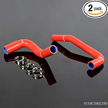 Red Silicone Radiator Coolant Tube Kit Clamps For Jeep Wrangler YJ TJ 2.4L//4.2L 1987-2006 2PCS
