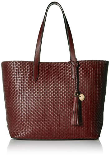 Leather Woven Handbag (Cole Haan Payson Woven Leather Tote Bag, Fired Brick)