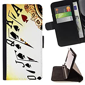 For Motorola Moto E (1st Gen, 2014) Cards Poker Ace King Queen Game Play Art Style PU Leather Case Wallet Flip Stand Flap Closure Cover