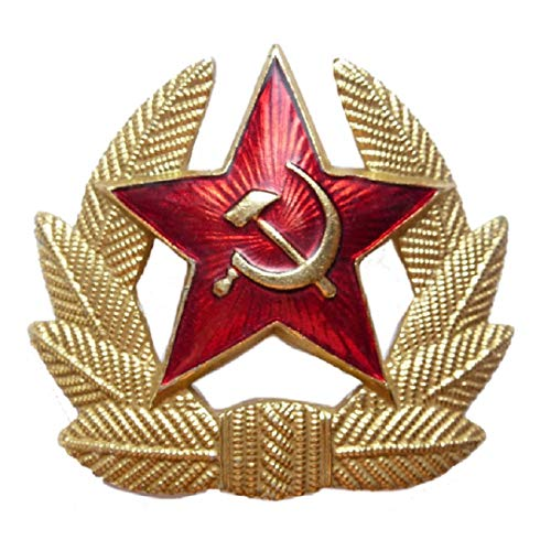 (SOVIET ARMY RED STAR INSIGNIA USSR HAMMER & SICKLE HEAD GEAR BADGE)