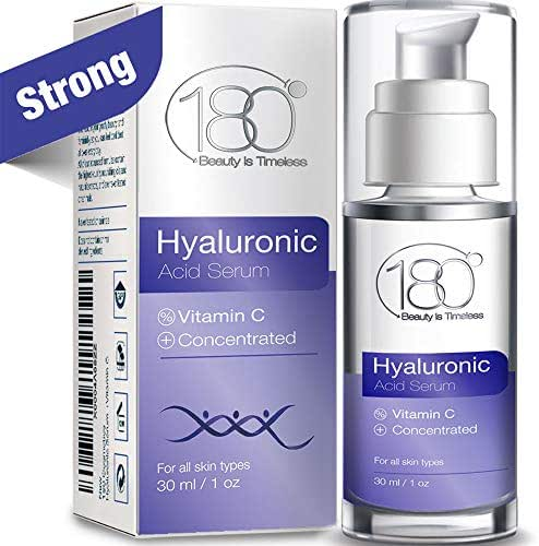 Hyaluronic Acid Serum For Face – 180 Cosmetics – Face Serum For Face and Eyes – Pure Hyaluronic Acid Serum for Reduced Wrinkles and Fine Line and for Visibly Plumped and Hydrated Skin - 1oz