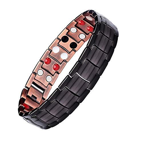 Mishow Mens Gun Black Copper Double Row Magnetic Therapy Bracelets for Arthritis Wristband Adjustable (Ionetix Bracelet)