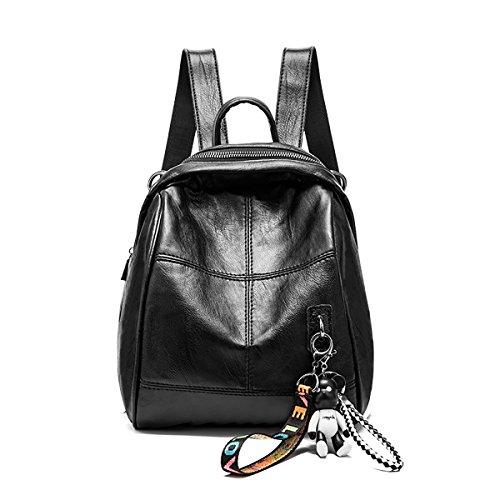 Tisdaini Mochilas de mujer suaves de cuero de la PU pequeña mochila de viaje de moda bolsos livianos para niñas negro Negro