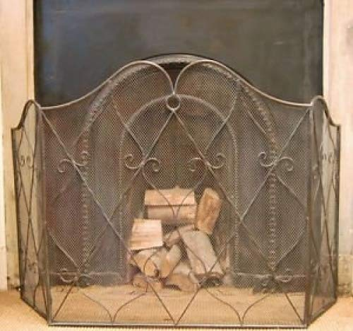 Traditional vintage style black metal folding fireguard screen scroll