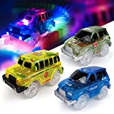 Toys : [3-Pack] Light-Up Replacement Track Race Car Toy | 4X4 Racing Cars w/ 5 LED Lights | INDEPENDENT & TRACK PLAY | Track Accessories | Compatible with Most Tracks | Endless Fun for Boys & Girls