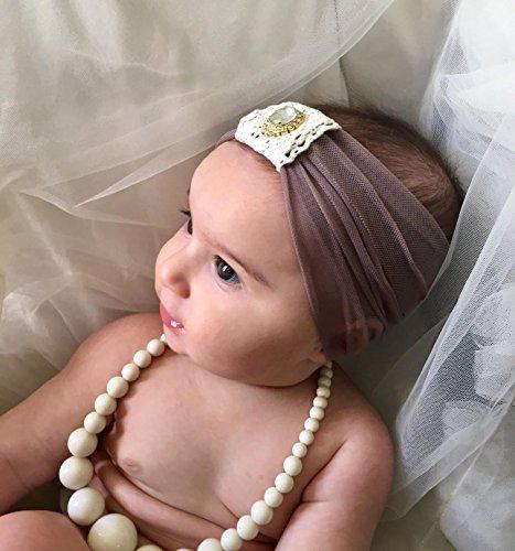 Handmade Grey newborn Baby Headband Made by Yasmine | Made with Crochet and Rhinestone