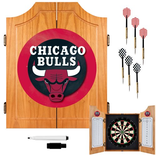NBA Chicago Bulls Wood Dart Cabinet Set by Trademark Gameroom