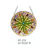 HF-253 22 Inch Vintage Tiffany Style Handmade Stained Glass Church Art Tulip Design Window Hanging Glass Panel Suncatcher