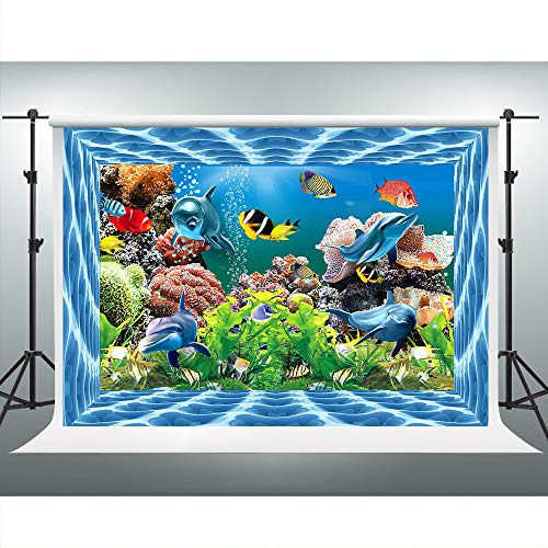 VVM 7x5ft Aquarium Backdrop Dolphin Coral Seaweed Photography Background Underwater World Themed Baby Shower Decorations Customized Studio Props XCVV330]()