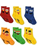 Sesame Street Elmo Boys Girls Multi Pack Crew Socks with Grippers