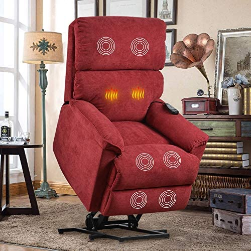 Lift Chair for Elderly with Massage Heat, Heavy Duty Lift Chairs Electric Recliner Chairs with Remote Control Soft Fabric Lounge