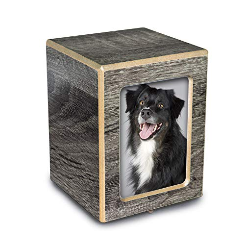Chateau Urns - Society Collection - Small - Photo Keepsake Cremation Urn - Pet Memorial Box for Ashes - Coastal Gray Finish