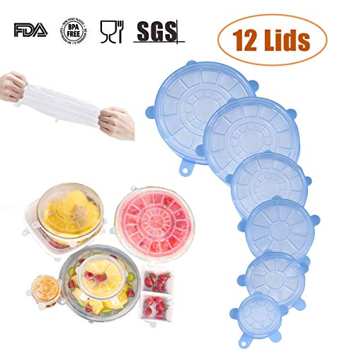 12 Pack Silicone Stretch Lids, Reusable Expandable No Odor Silicone Lids, Bowl Covers of Two Colors 6 Sizes for Container, Dishwasher, Microwave and Freezer ()