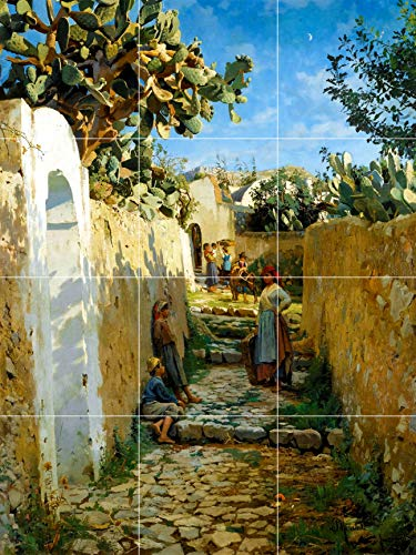 - anacapri Capri Amalfi Coast Italy Island People Cactus Garden Women Children Family Antique Painting Ceramic Tile Mural Kitchen Bathroom backsplash Decor 24