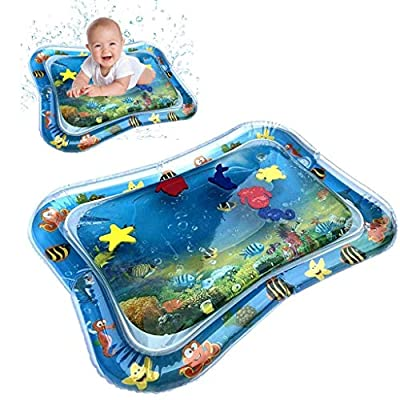 LLguz 2PCS Inflatable Water Mat Leakproof Tummy Time Baby Play Pad Perfect Water Activity Center for Toddler Infant Newborn Age 3 Month+,Engaging Fun Summer Cooling Toys for Growth: Toys & Games
