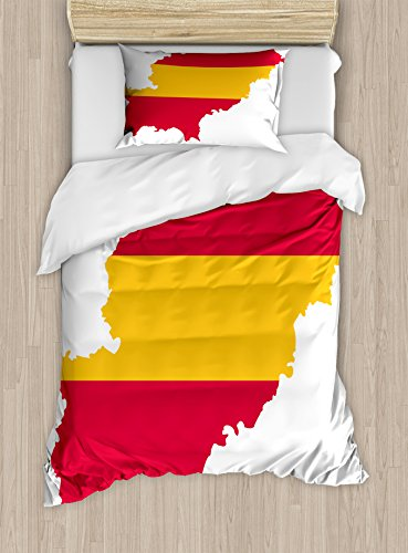 Lunarable Ibiza Twin Size Duvet Cover Set, Balearic Island Map with Spain Flag Pattern Exotic Ibiza Holiday Theme, Decorative 2 Piece Bedding Set with 1 Pillow Sham, Yellow and Dark Coral by Lunarable