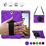 BRAECN for Samsung Galaxy Tab S3 9.7 Case(SM-T820) Heavy Duty Shockproof Rugged Armor Three Layer Hard PC+Silicone Hybrid Impact Resistant Defender Full Body Protective Case with a Hand Strap (Purple)