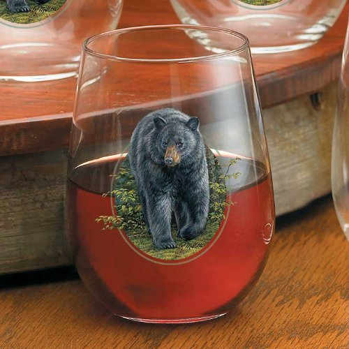 Wild Wings Black Bear Stemless Wine Glasses by Rosemary Millette, multicolor,