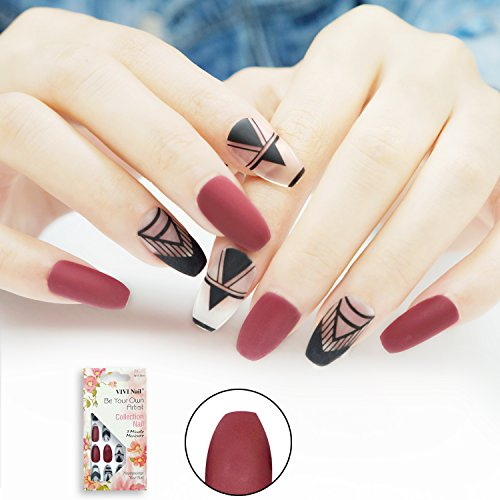 Coffin False Nails with Design Matte Nails 24 Pieces Full Cover Girls Ballerina Fake Nails