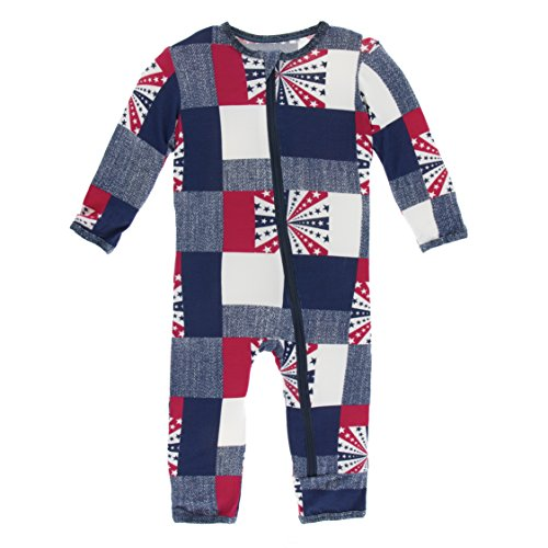 Kickee Pants Little Boys Print Coverall With Zipper - Patchwork, 6-9 Months