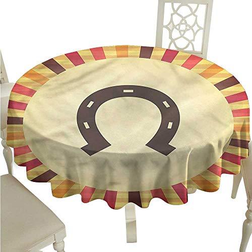 ScottDecor Dinning Tabletop Decoration Horseshoe,Starburst Vintage Lines Jacquard Tablecloth Round Tablecloth D 36