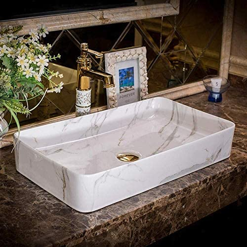 長方形浴室セラミックシンクの洗面陶器カウンタートップ洗面バスルームにはアンティーク船シンクシンク