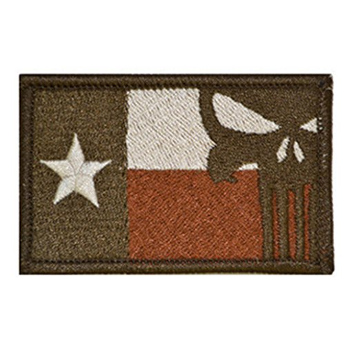 KingNew Embroidered Patch Tactical Gear Junkie Texas State Flag Punisher Skull Badge Sticker(Colour 2)