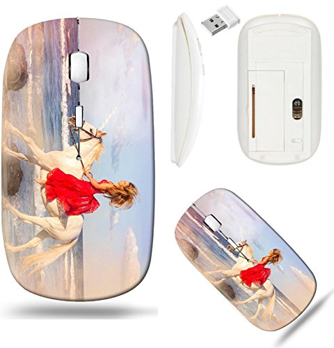 (Liili Wireless Mouse White Base Travel 2.4G Wireless Mice with USB Receiver, Click with 1000 DPI for notebook, pc, laptop, computer, mac book ID: 26075655 romantic woman bareback riding unicorn on bea)