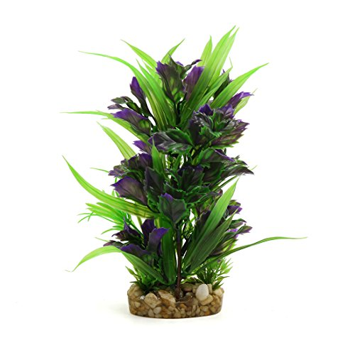 (uxcell Purple Green Plastic Aquarium Terrarium Decorative Plant Habitat Decor w Ceramic Base)