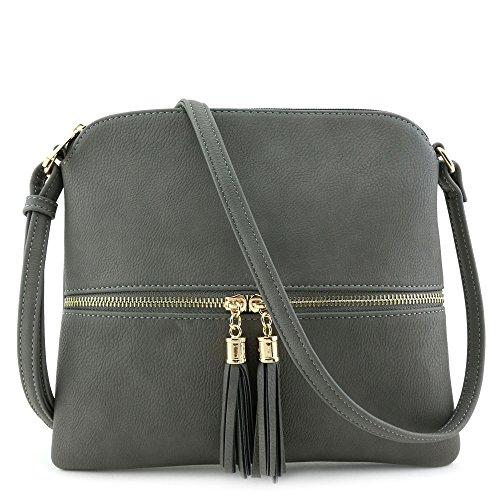 Lightweight Medium Crossbody Bag with Tassel Grey