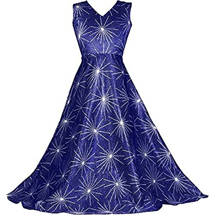 Fashion Dream Girl's Zari Satin Printed Designer Long Dress/Gown (Readymade)