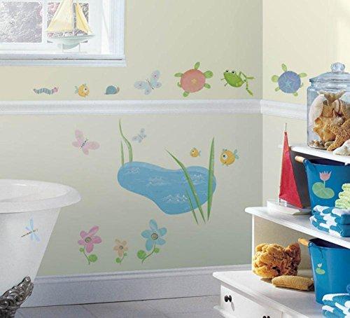 Accents Wrought Iron Single - RoomMates RMK0022SS Hoppy Pond Turtle Peel & Stick Single Sheet