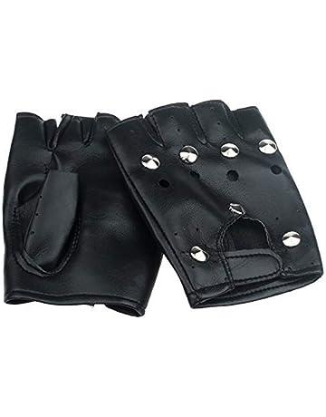 Ogquaton Unisex Elegantes Dedos de medio dedo Guantes Guantes de cuero Punk Rock Suministros de vacaciones
