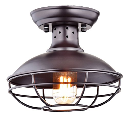 Vintage Ceiling Light (Dazhuan Industrial Vintage Metal Cage Pendant Lighting Semi Flush Mount Ceiling Light Lamp Fixture ORB Hanging Chandelier)