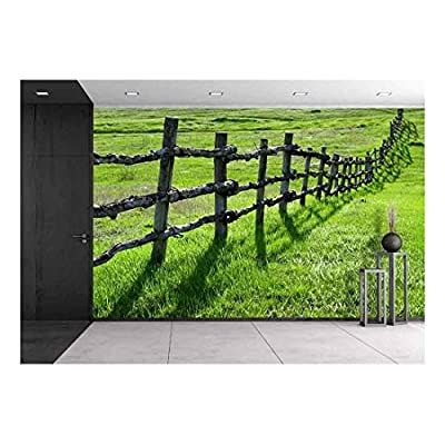 Old Wooden Fence on Green Meadow - Removable Wall Mural | Self-Adhesive Large Wallpaper - 100x144 inches