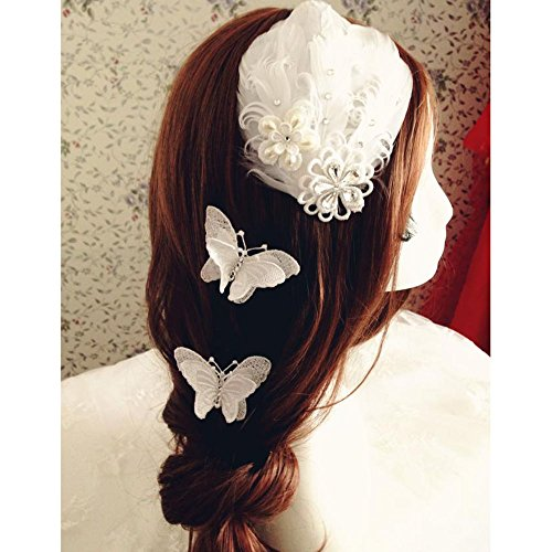 Price comparison product image KAKA(TM) Fashion Bridal Rhinestone Pearl Flower Wedding Feather Headwear Hair Clip Stage Performances Headband-White