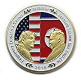 President Donald Trump and Kim Jong-un Coin Shake Hands with Korean Commemorative Coins Gold Plated Novelty Political Gift (Gold)