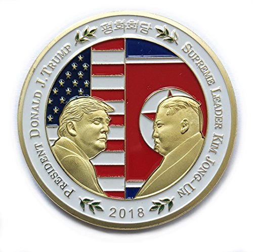 (President Donald Trump and Kim Jong-un Coin Shake Hands with Korean Commemorative Coins Gold Plated Novelty Political Gift (Gold Color))