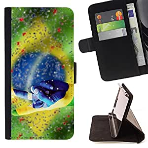 Football Brazil Win Soccer Flag - Painting Art Smile Face Style Design PU Leather Flip Stand Case Cover FOR Samsung Galaxy S6 @ The Smurfs