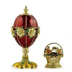 Flowers Basket Royal Russian Egg- Enameled Jewelry Trinket Box Figurine