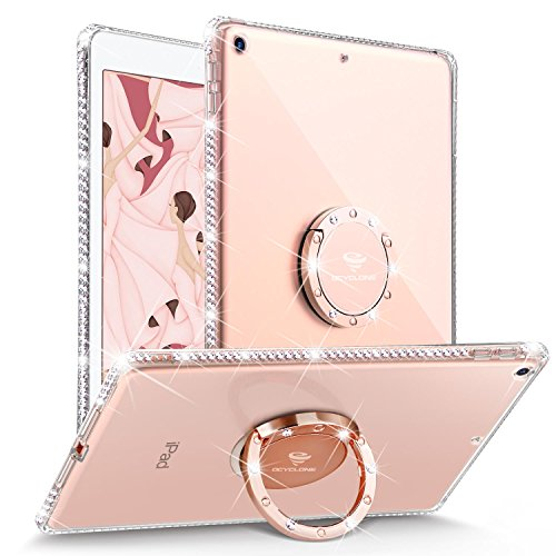OCYCLONE iPad 9.7 2018/2017 Case, Glitter Cute Lightweight iPad Case Girls with Kickstand, Bling Diamond Rhinestone Bumper Ring Stand iPad 9.7 iPad 5th/6th Generation Case for Girl Women - Rose Gold